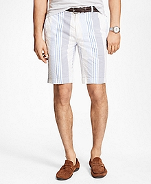 Multi-Stripe Seersucker Bermuda Shorts