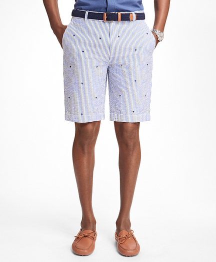 Palm Tree Embroidered Seersucker Bermuda Shorts