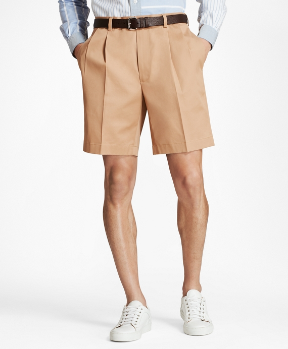Pleat Front Stretch Advantage Chino Shorts Dark Khaki