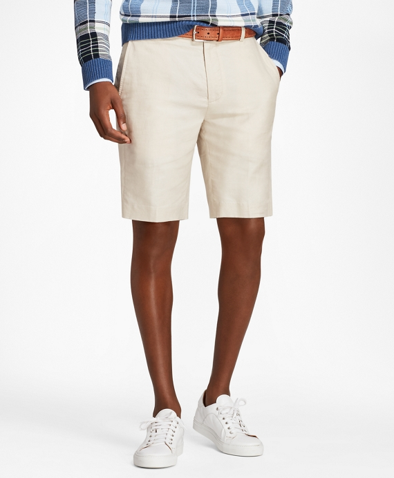 Linen and Cotton Bermuda Shorts Oatmeal
