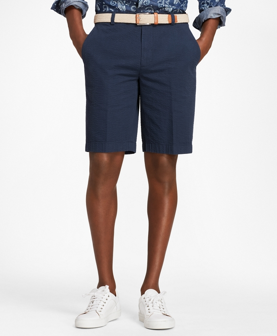 Seersucker Bermuda Shorts Navy