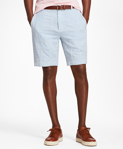 Patchwork Seersucker Bermuda Shorts