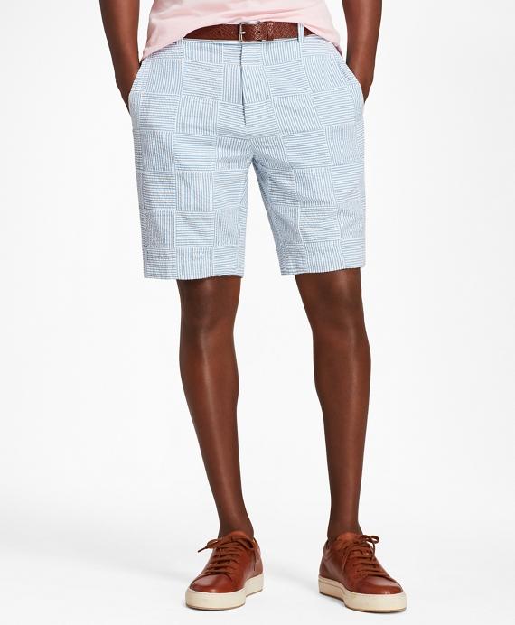 Patchwork Seersucker Bermuda Shorts Blue