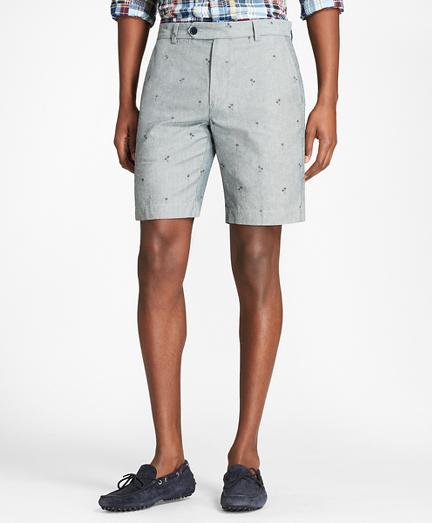 Palm Tree Print Chambray Shorts