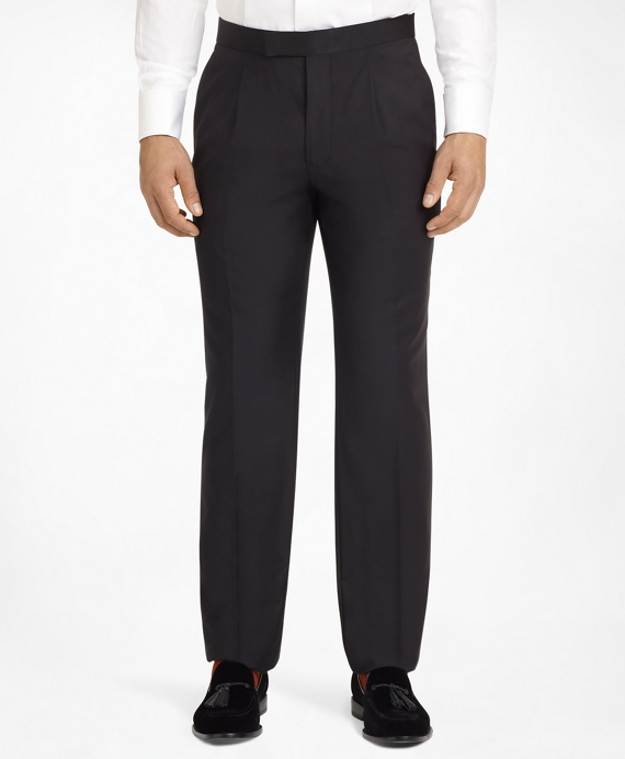 Ready-Made Regent Fit Pleat-Front Tuxedo Trousers Black
