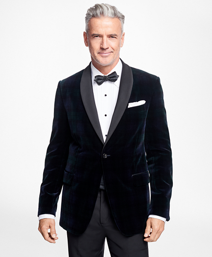 Regent Fit Black Watch Shawl Collar Tuxedo Jacket