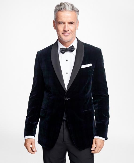 Regent Fit Black Watch Shawl Collar Tuxedo Jacket