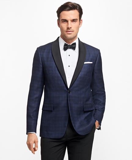 Regent Fit Plaid Tuxedo Jacket