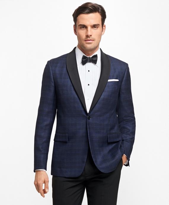Regent Fit Plaid Tuxedo Jacket Blue