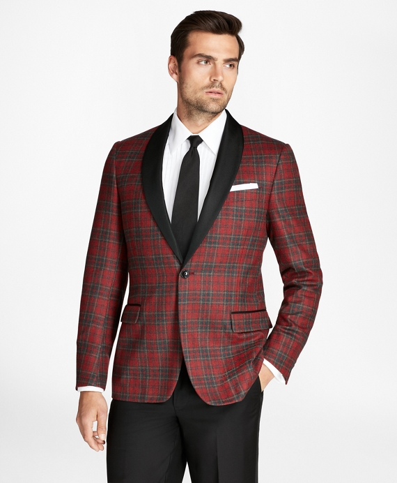 Regent Fit Tartan Tuxedo Jacket Red