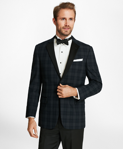Regent Fit Plaid Seersucker Tuxedo Jacket