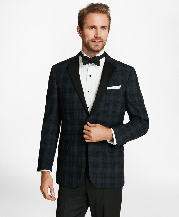 Regent Fit Plaid Seersucker Tuxedo Jacket Blue-Grey