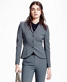Petite Three-Button Wool Suit Jacket