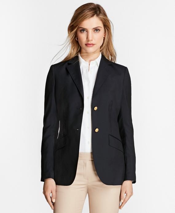 Petite Two-Button Wool Blazer Navy