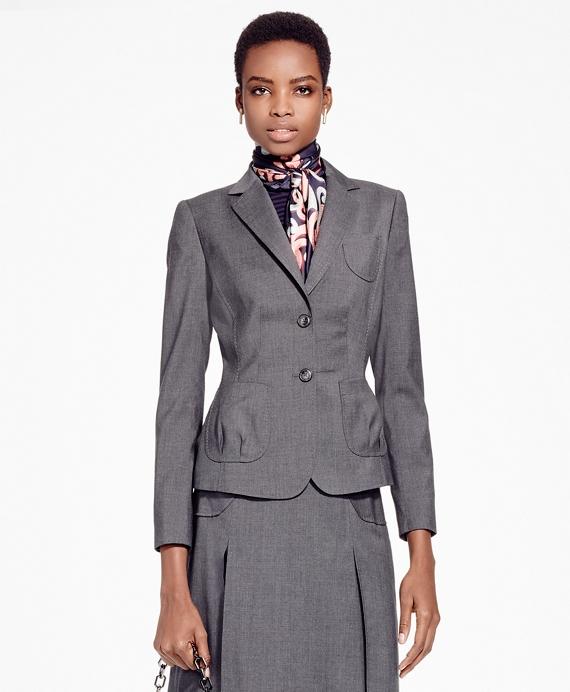 Petite Single-Breasted Tropical Wool Blazer Grey