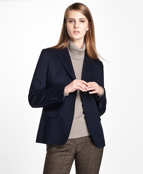 Petite Loro Piana® Two-Button Cashmere Blazer Navy