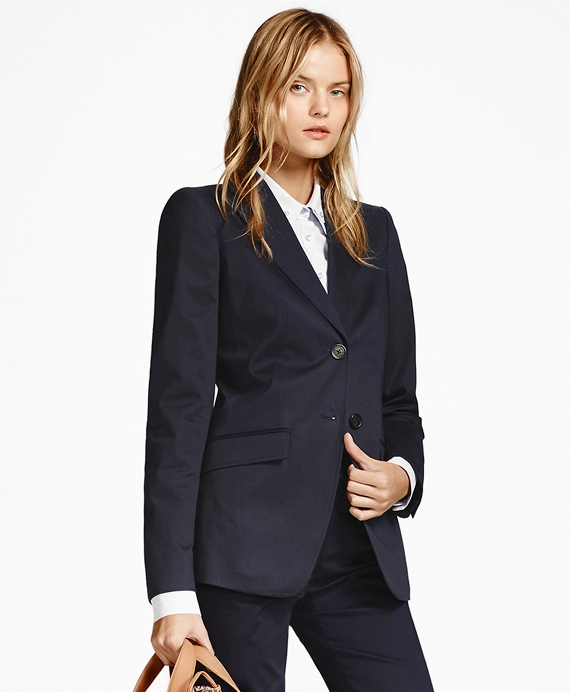 Petite Two-Button Stretch-Cotton Twill Jacket Navy