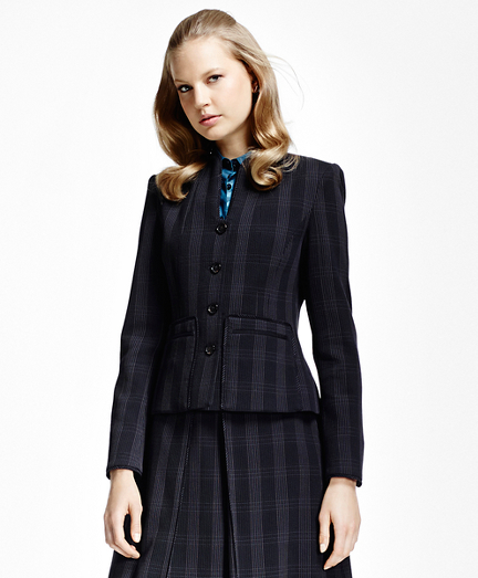 Petite Plaid Corded Suit Jacket
