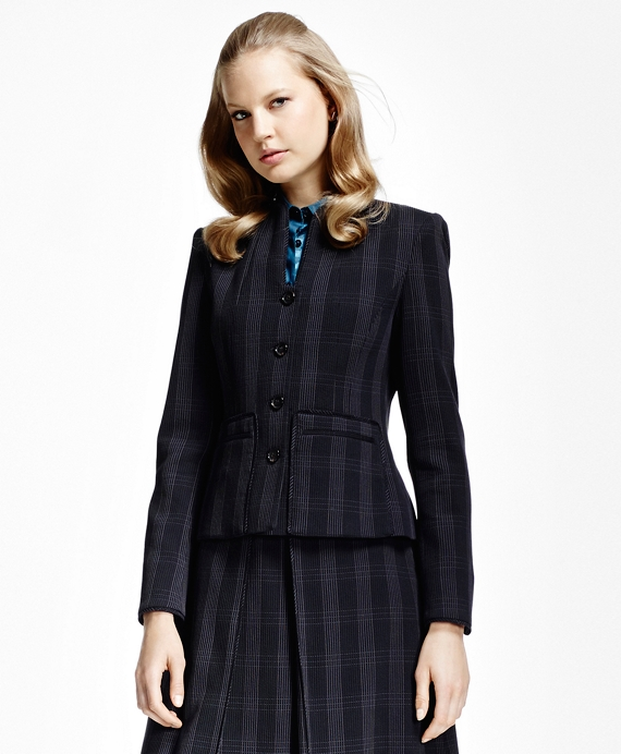 Petite Plaid Corded Suit Jacket Navy-Lilac