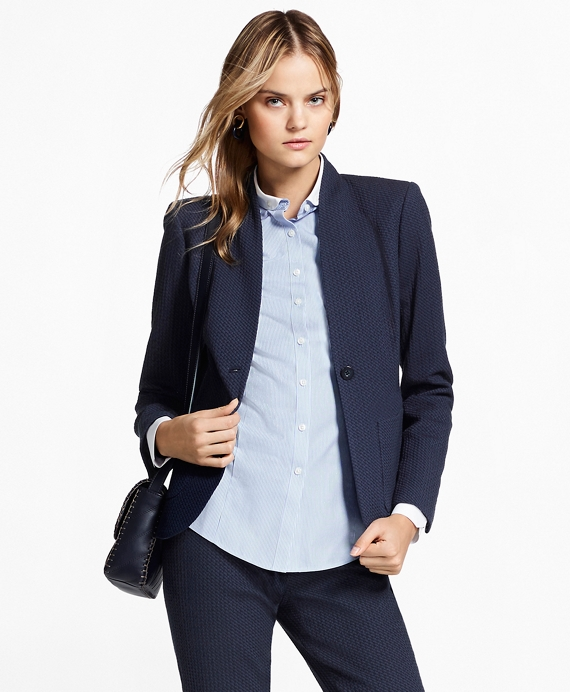Petite Stretch Cotton Jacquard Jacket