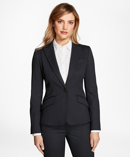 Petite Pinstripe Stretch-Wool Jacket