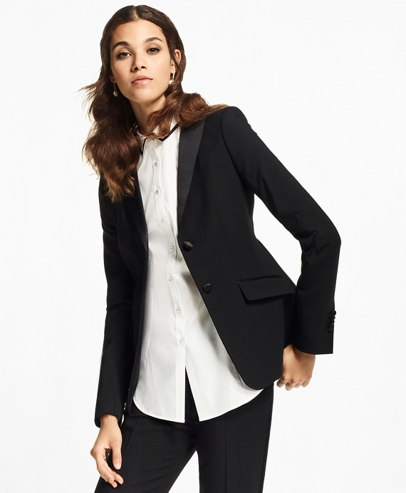 Petite Stretch-Wool Crepe Tuxedo Jacket Black