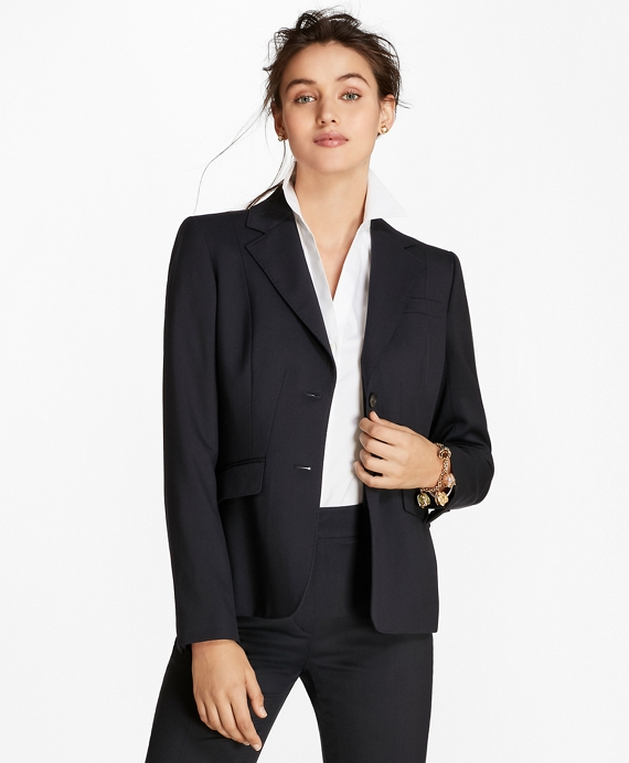 Petite Wool Two-Button Jacket Navy