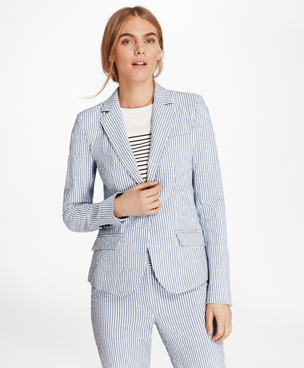 Petite Striped Stretch Cotton Seersucker Jacket Brooks Brothers