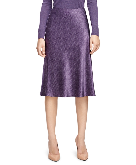Petite Silk Herringbone Flared Skirt Purple