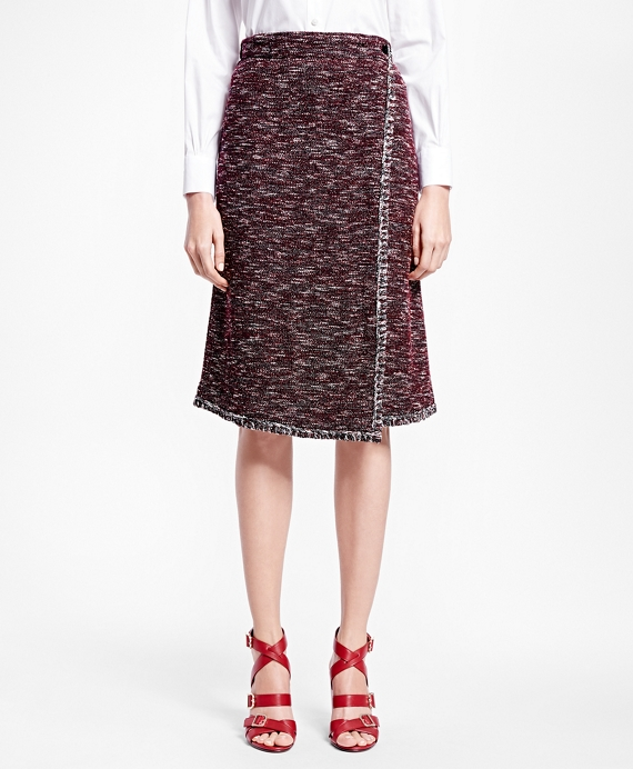 Petite Blanket-Stitch Tweed Skirt Wine