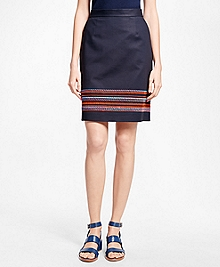 Petite Embroidered Stretch Cotton Skirt