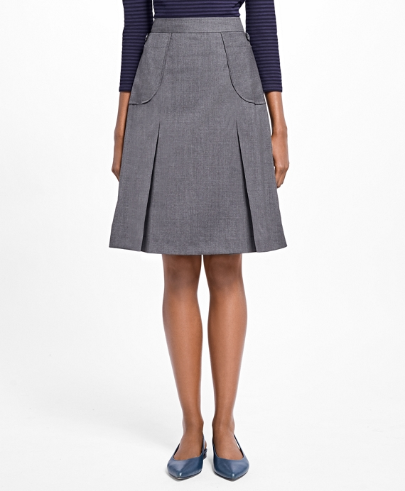 Petite Tropical Wool A-Line Skirt Grey