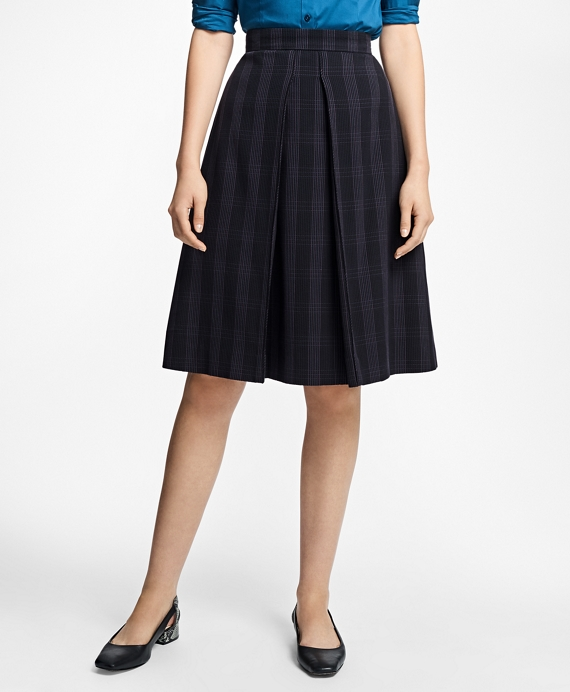 Petite Plaid Corded A-Line Skirt