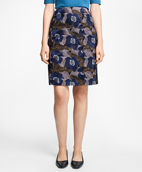Petite Floral-Embroidered A-Line Skirt Navy-Multi