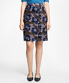 Petite Floral-Embroidered A-Line Skirt