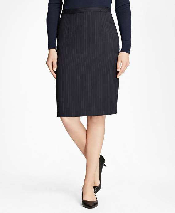 Petite Pinstripe Stretch-Wool Pencil Skirt