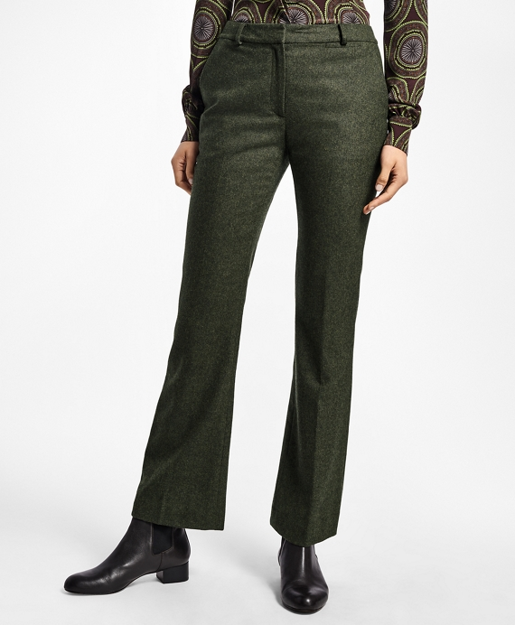 Petite Wool Twill Trousers Dark Green