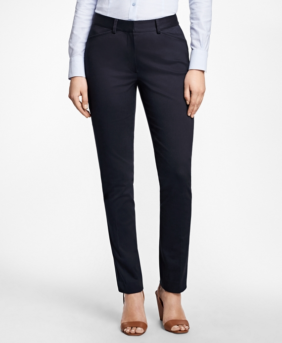 Petite Stretch-Cotton Twill Pants Navy