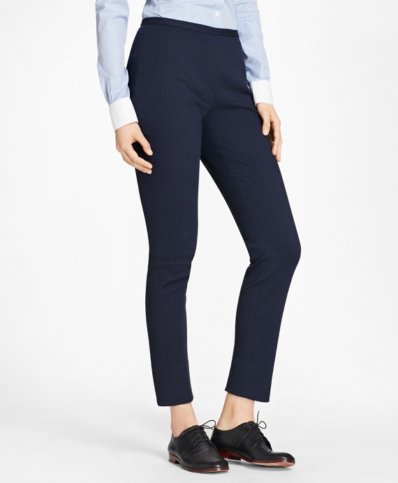 Petite Stretch Cotton Jacquard Slim-Fit Pants Navy