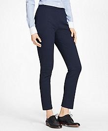 Petite Stretch Cotton Jacquard Slim-Fit Pants