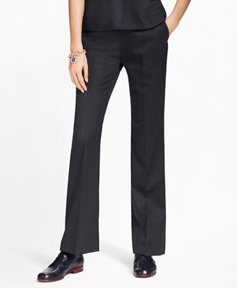 Petite Pinstripe Stretch-Wool Pants