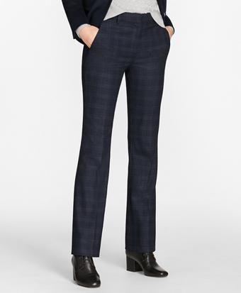 Petite Plaid Stretch-Wool Pants