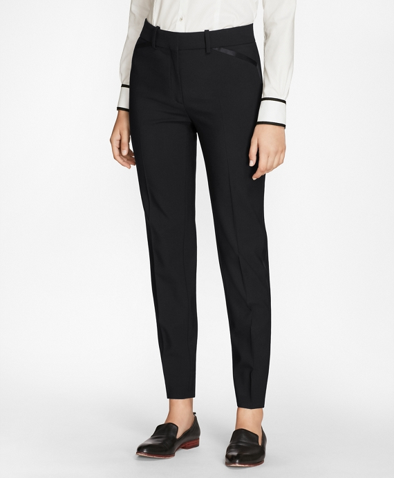 Petite Slim-Fit Stretch-Wool Crepe Tuxedo Pants