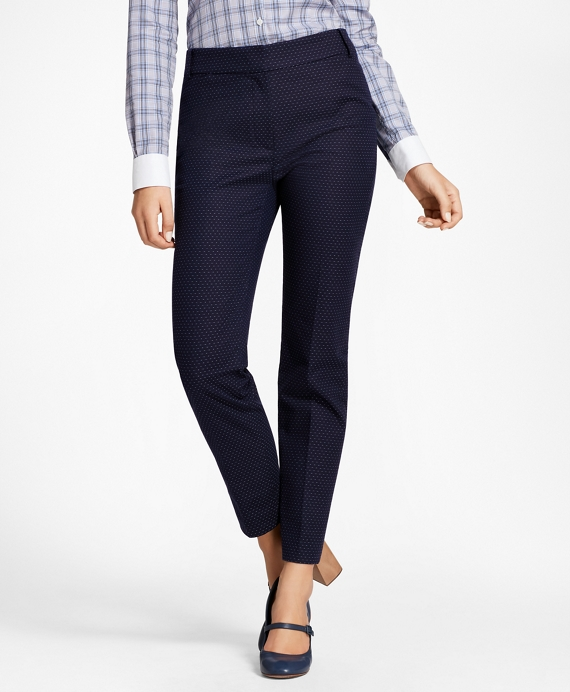 Petite Slim-Fit Diamond Jacquard Ankle Pants Navy