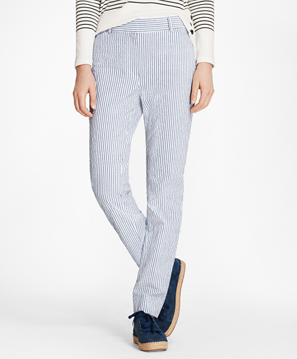 Petite Striped Stretch Cotton Seersucker Pants