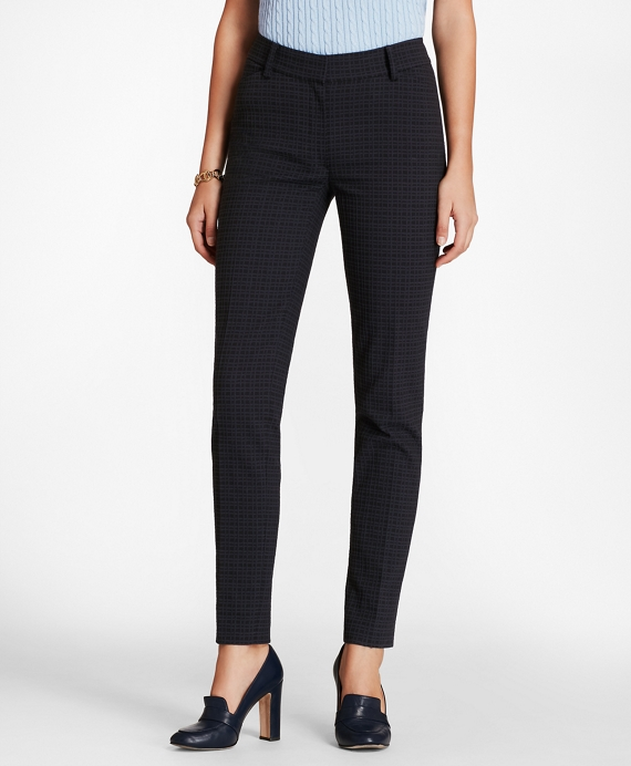 Petite Plaid Stretch-Cotton Jacquard Ankle Pants Navy