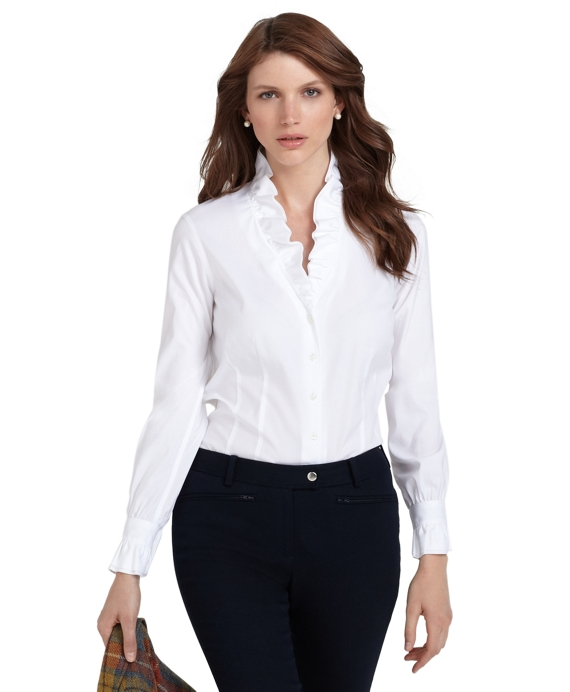 Women's Petite Non-Iron Fitted Ruffle Collar White Dress Shirt ...
