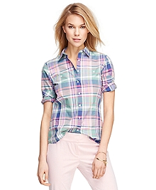 Petite Tailored Fit Cotton Madras Shirt