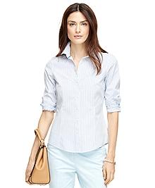 Petite Non-Iron Tailored Fit Stripe Dress Shirt