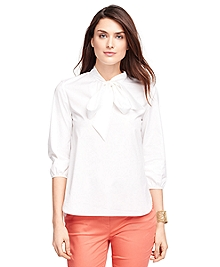 Petite Three-Quarter Sleeve Cotton Shirt